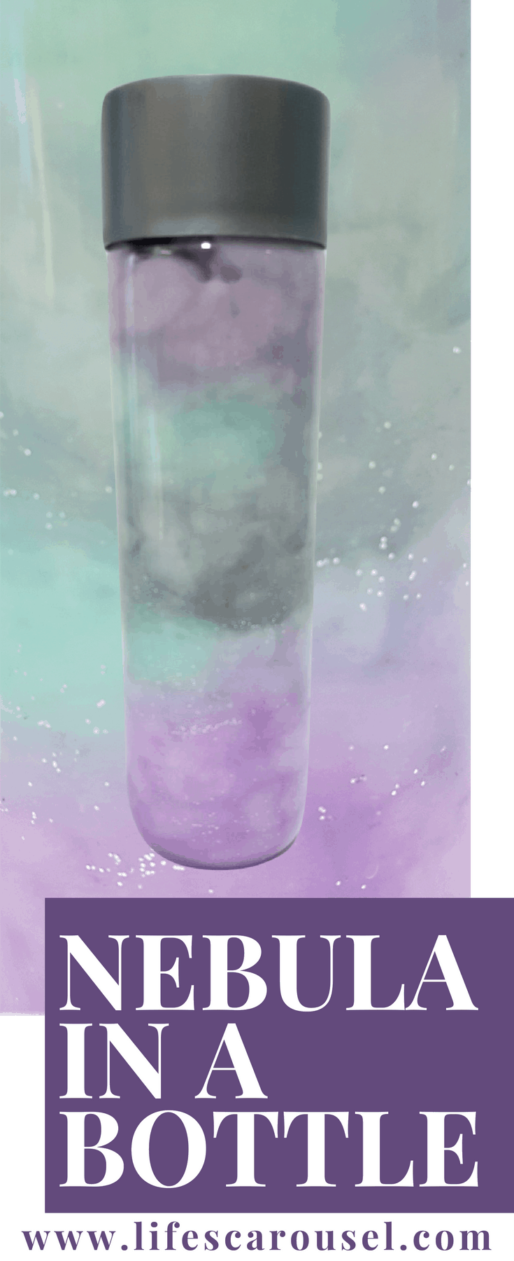 Nebula in a Bottle | DIY Nebula in a Bottle - make your own mini galaxy in a bottle. Quick & easy kids project. Just uses - cotton wool, paint, glitter and water!