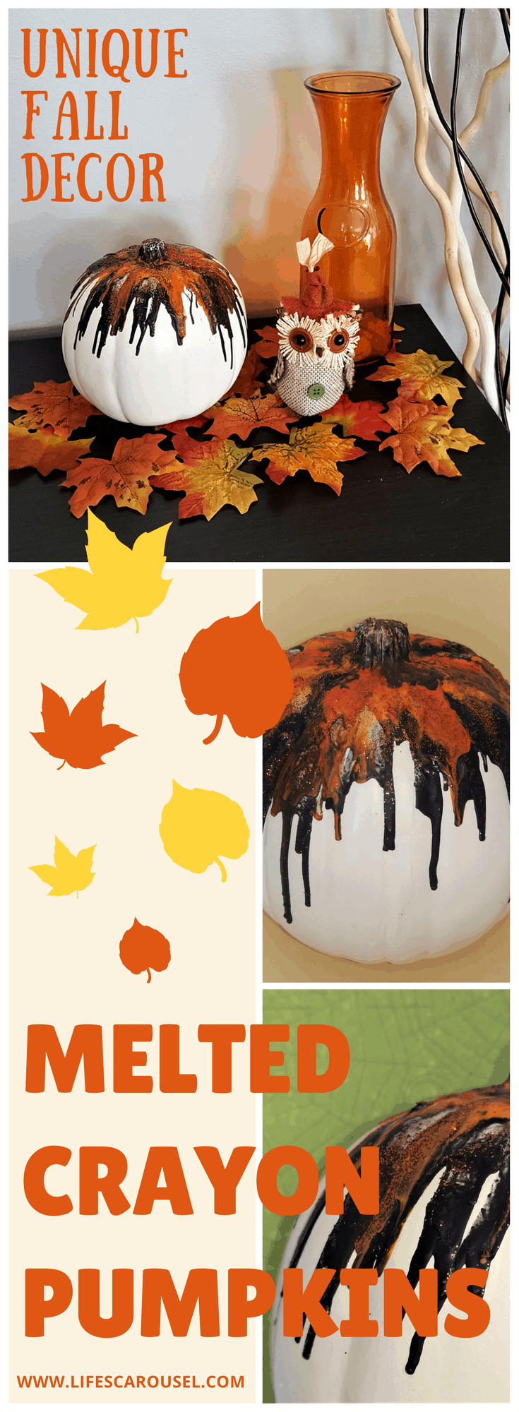 Fall Melted Crayon Pumpkin | Unique Pumpkin Decoration Perfect for Fall or Halloween Decor