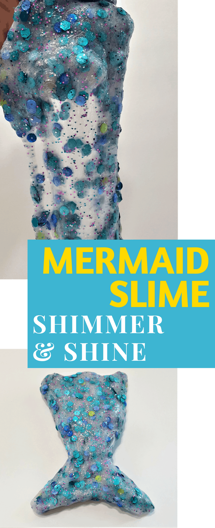 Mermaid Slime - Slimmer & Shine Slime | Mermaid Slime is the ultimate glitter slime! It has a wonderfully unique and fun texture. Using a clear slime base makes this an easy and fun kids craft!