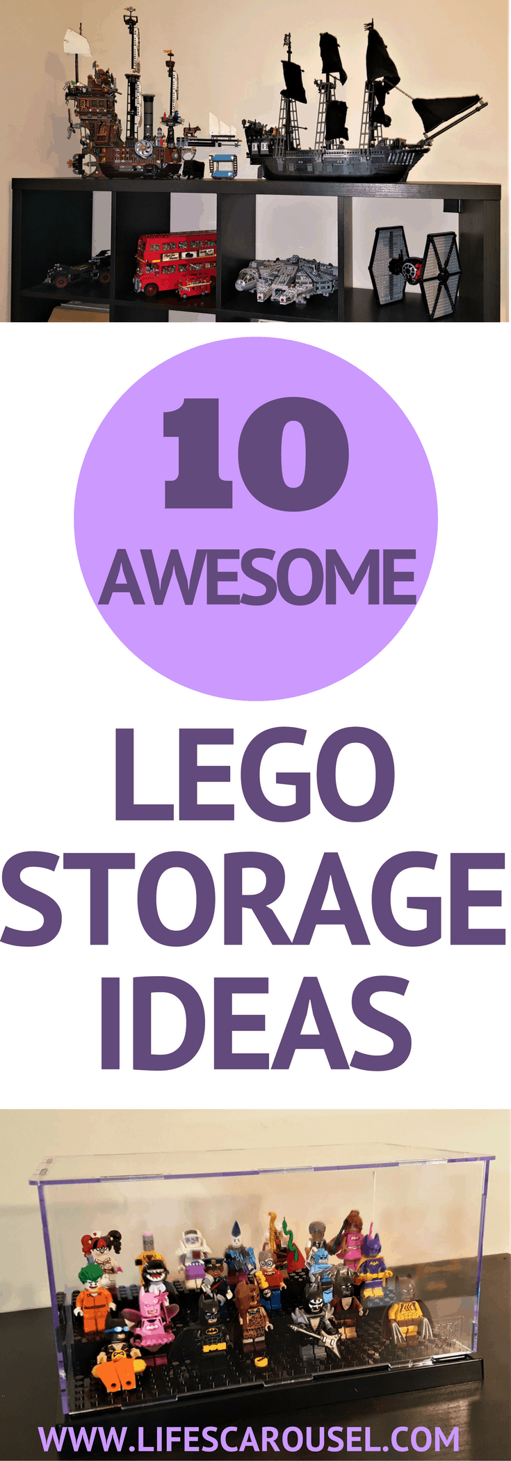 Lego Storage Ideas | 10 Awesome ideas for storage your Lego pieces, sets and minifigures. DIY Lego organization ideas - tables, displays and more.