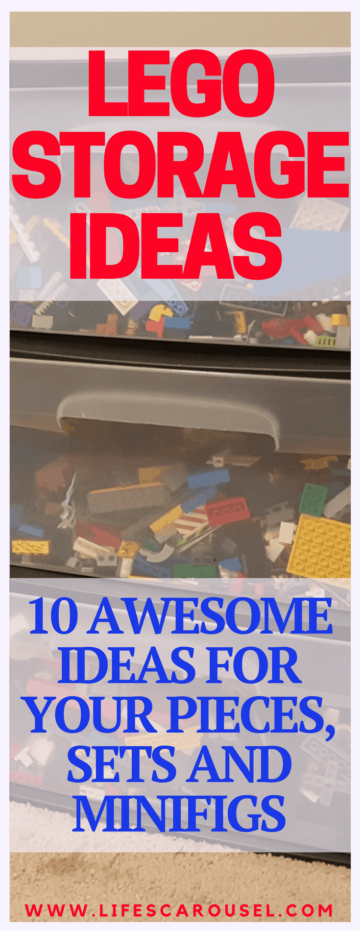 Lego Storage Ideas | Ways to store and display your Lego sets, pieces and minifigures. Lego tables, desks, containers, shelves, under couch or bed ideas.
