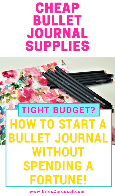 Complete Guide to Cheap Bullet Journal Supplies | Don't spend a fortune starting your bullet journal. Tips for how to save money on bullet journals, pens and more. Try bullet journaling without the hefty price-tag! Budget and low cost BuJos!