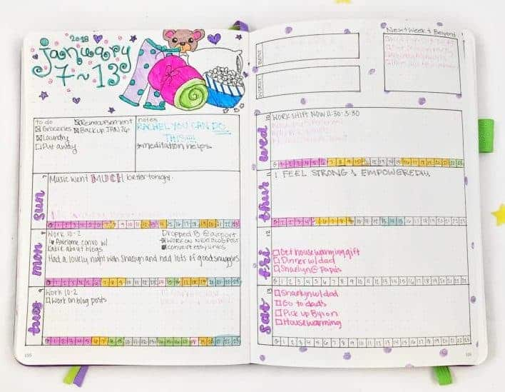 Bullet Journal Ideas | Planning Mindfully's Weekly Spread