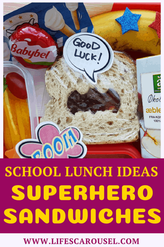 School Lunch Ideas - Superhero Sandwich | I love this Superhero Sandwich lunch idea. Perfect for preschoolers, kindergarten or kids of all ages! Picky eaters will love this sandwich! It's so quick and easy to make, you can even make ahead of time. What a great healthy bento box lunch idea!