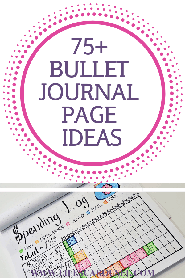 75+ Bullet Journal Page Ideas - Not sure what to put in your in your bujo? These bullet journal page ideas will help you live a more organized life! Habit trackers, calendars, spreads, layouts and more!
