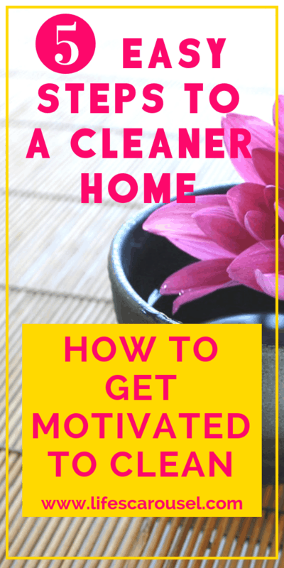 How to Get Motivated to Clean... Even When Your Home is a MESS!!! Messy house? Overwhelmed by the chaos? These 5 steps will help you get control of the messy and have a clean house! How to get your rooms clean and organized.