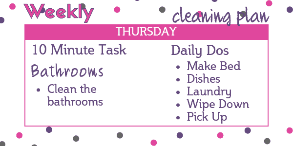 Easy Weekly Cleaning Schedule - Thursday: Bathrooms
