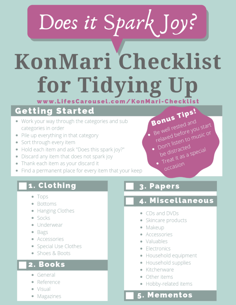"Easy KonMari Checklist - Tidying Up with Marie Kondo is a popular way to tidy and organize your home. This KonMari Checklist takes you through the categories and steps needed to get your home organized! Finally ""spark joy"" in your home!"