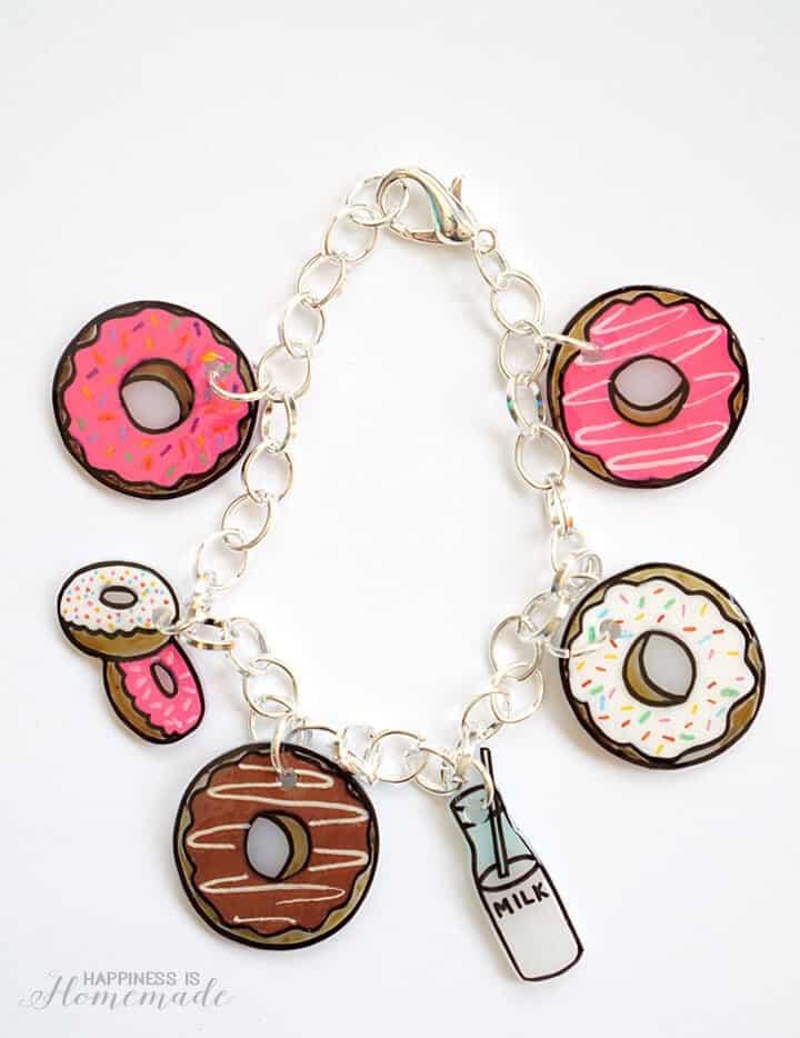 Shrinky Dink Charm Bracelet: Donuts!