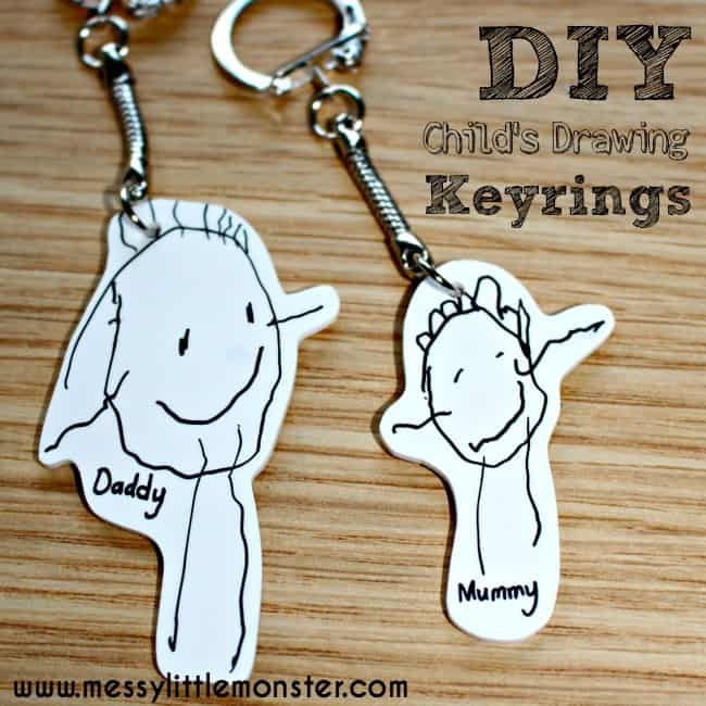 Shrinky Dinks Keyring: Mom or Dad Gifts