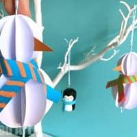 Paper Snowman Ornaments